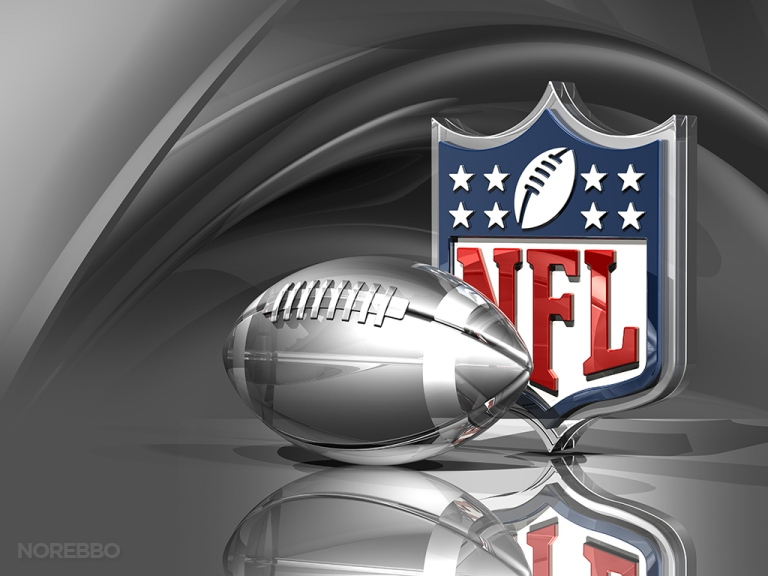 Silver Football and NFL Logo Over Metallic Silk Background