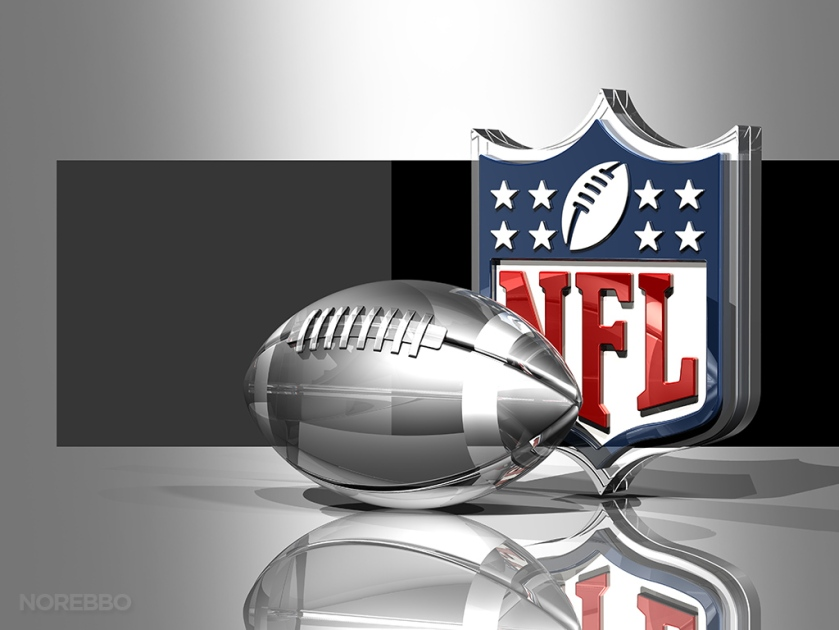 Silver Football and NFL Logo Over Silver Background